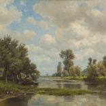 Jan Willem van Borselen   Een Hollands rivierlandschap   Kunsthandel Bies