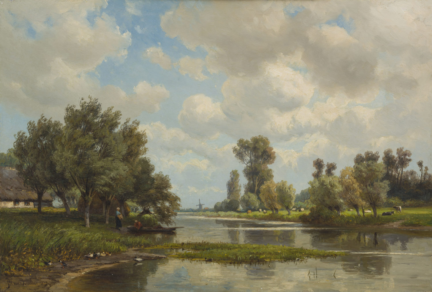 Jan Willem van Borselen | Een Hollands rivierlandschap | Kunsthandel Bies