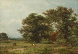 Jan Willem van Borselen | Landschap met personen en geiten bij een boerderij | Kunsthandel Bies