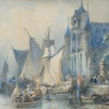 Johannes Bosboom | Statenjacht aan een kade voor een kerk | Kunsthandel Bies