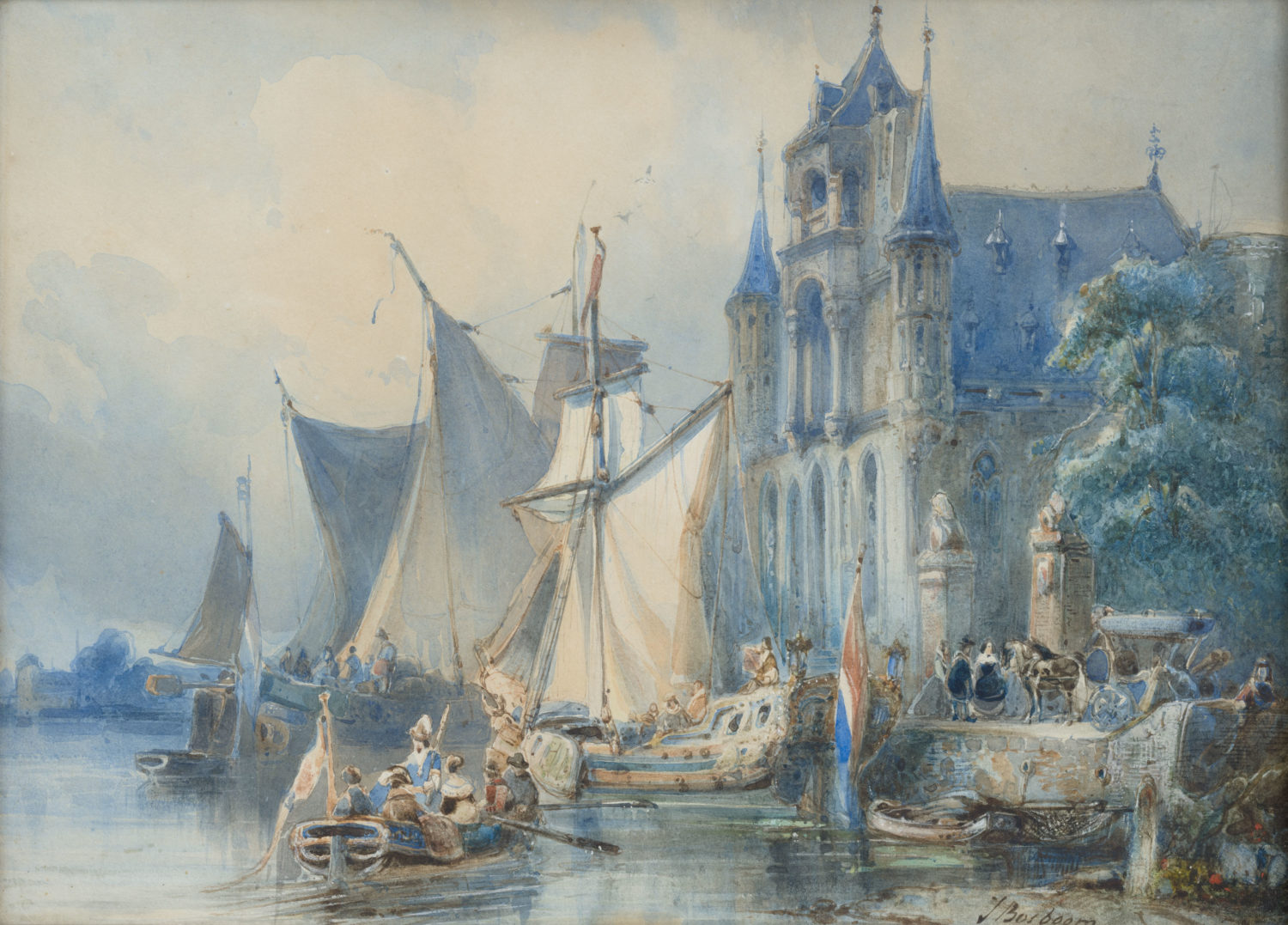 Johannes Bosboom | A yacht anchoring at the quay in front of a church | Kunsthandel Bies | Bies Gallery