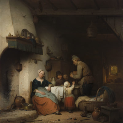 Ferdinand de Braekeleer | De zorgzame huisvader | Kunsthandel Bies