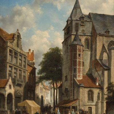 Jacques François Joseph Carabain | Zomers stadsgezicht met figuren op een marktplein | Kunsthandel Bies