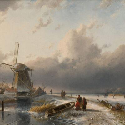 Charles Leickert | Een Hollands winterlandschap met links een molen | Kunsthandel Bies
