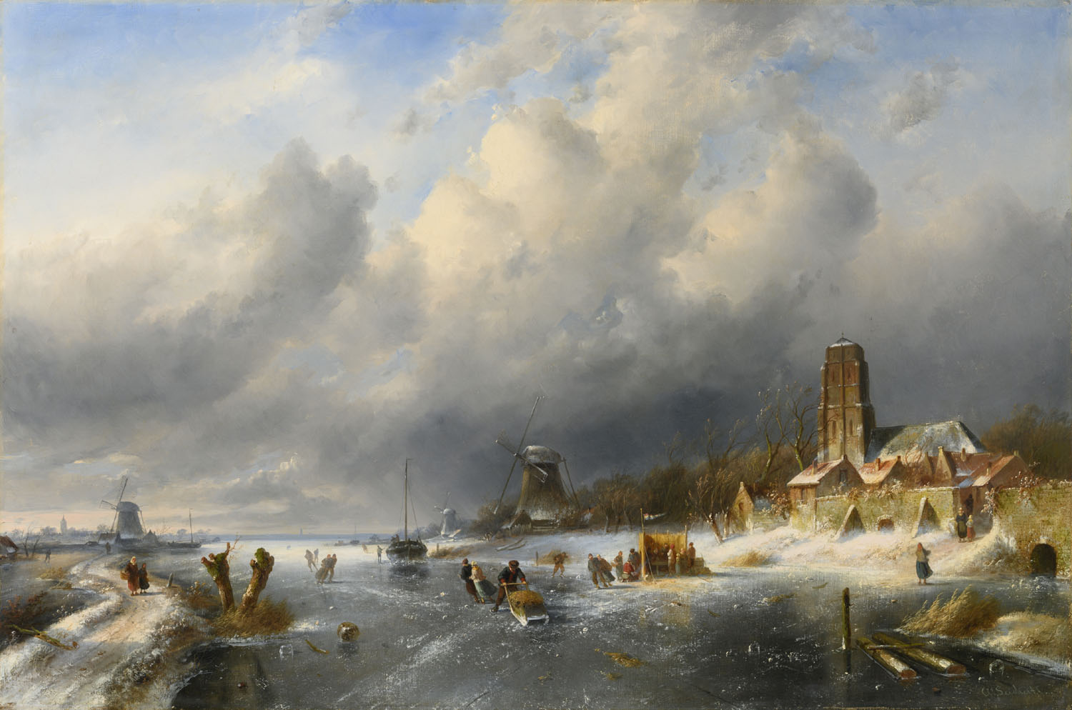 Charles Leickert | A Dutch winter landscape with skaters, a village beyond | Kunsthandel Bies | Bies Gallery