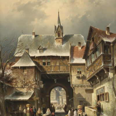 Charles Leickert | Stadsgezicht in de winter | Kunsthandel Bies