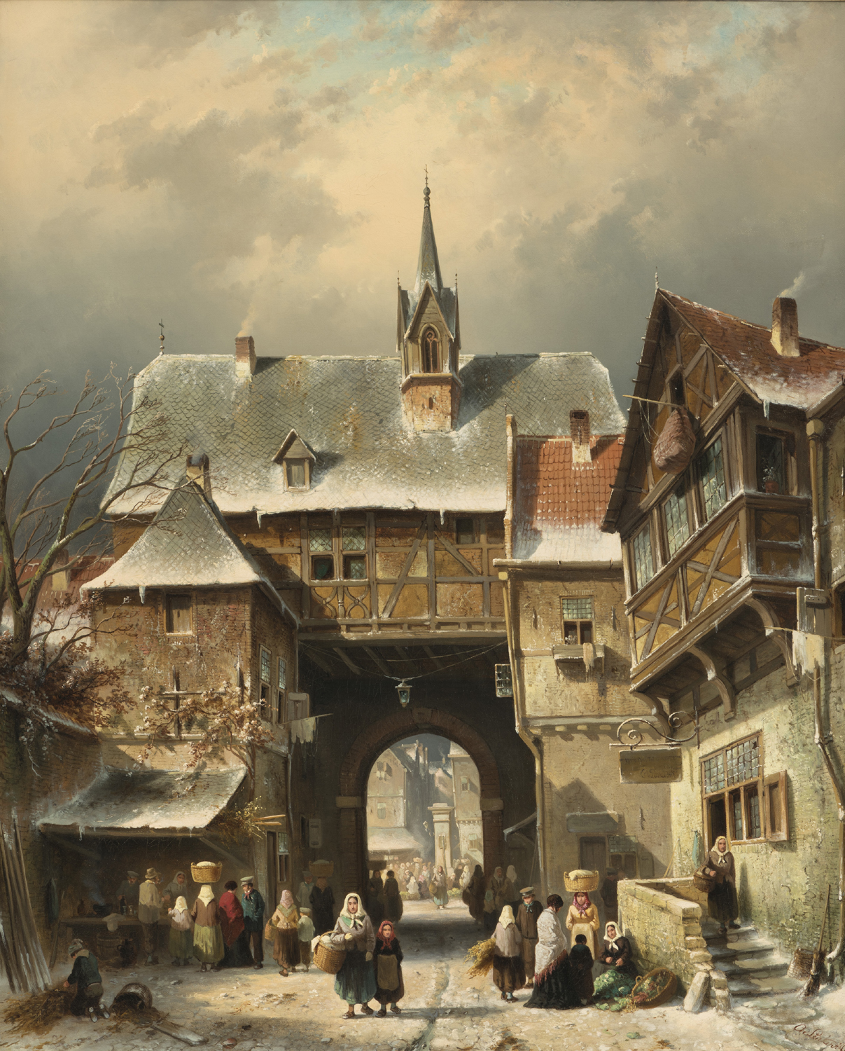 Charles Leickert | A snow covered street with city gate | Kunsthandel Bies | Bies Gallery