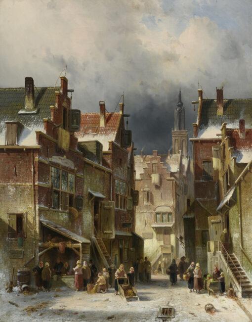 Charles Leickert | Winters stadsgezicht met vrouw met duwslede | Kunsthandel Bies