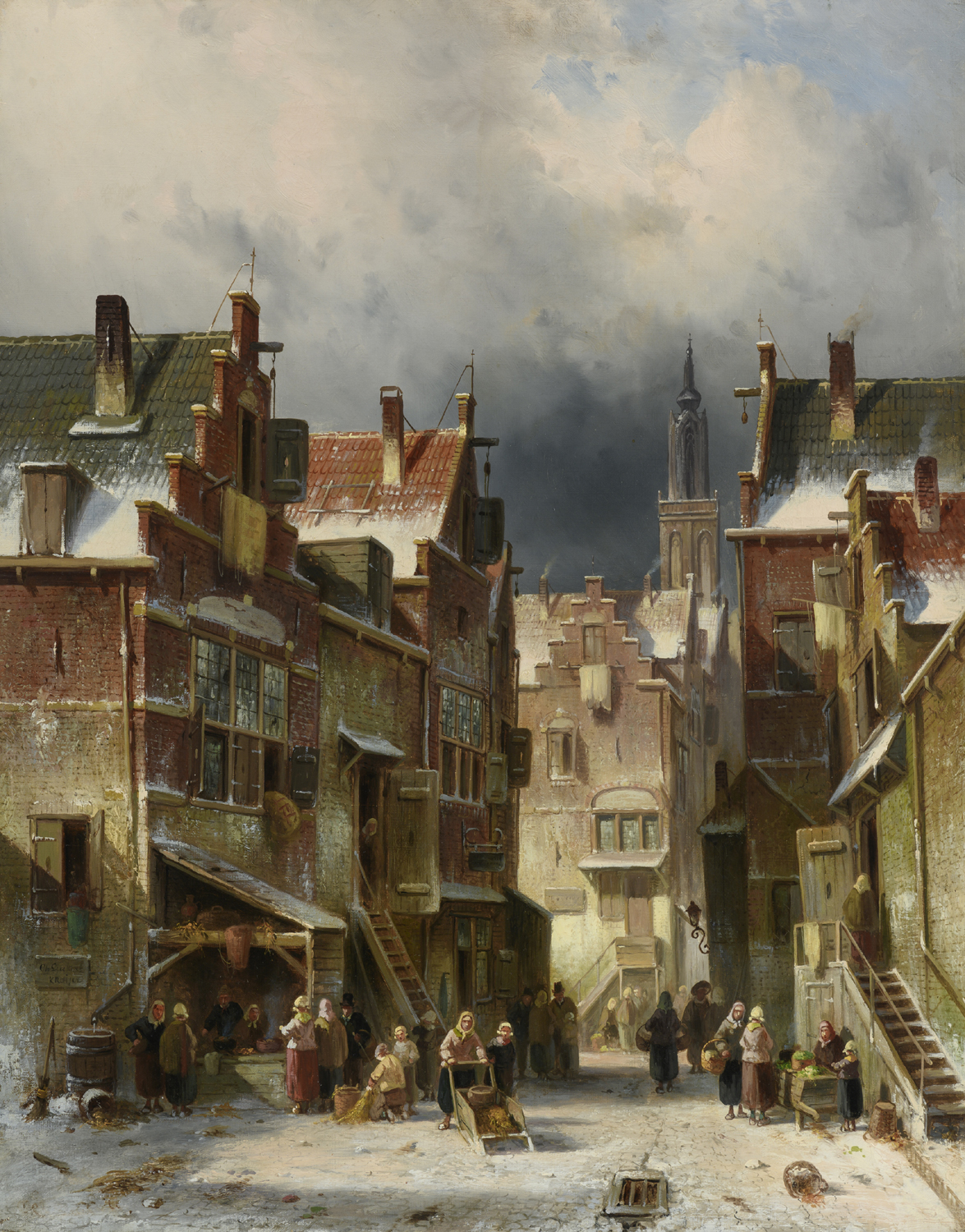 Charles Leickert | A wintry Dutch town with woman with push sleigh| Kunsthandel Bies | Bies Gallery