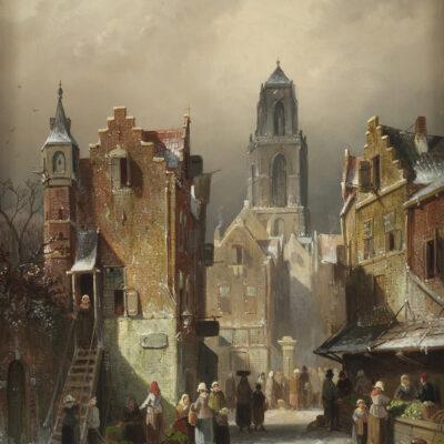 Charles Leickert | Stadsgezicht in de winter | Kunsthandel Bies