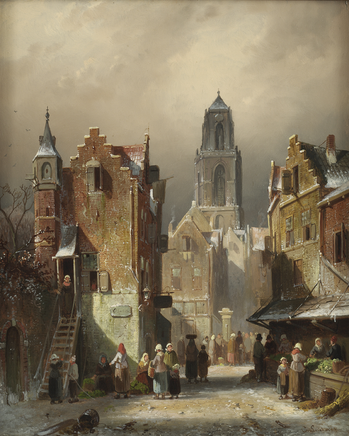 Charles Leickert | A view of a Dutch town in winter| Kunsthandel Bies | Bies Gallery