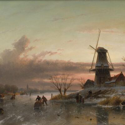 Charles Leickert | Winterlandschap met schaatsers op het ijs en een molen rechts | Kunsthandel Bies