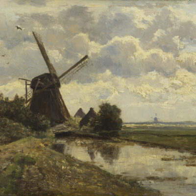 Constant Gabriël | Zomers polderlandschap met molen | Kunsthandel Bies