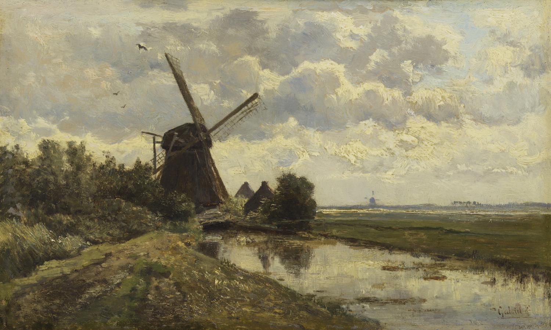 Paul Joseph Constantin ('Constant') Gabriël | Zomers polderlandschap met molen | Kunsthandel Bies