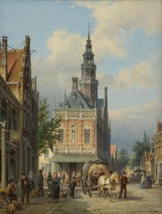 Cornelis Christiaan Dommersen | Gezicht op het stadhuis te Bolsward | Kunsthandel Bies
