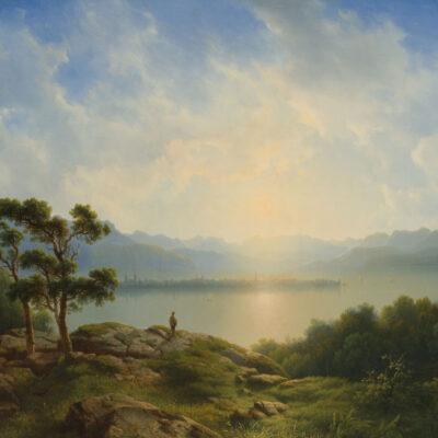 Cornelis Lieste | Zicht op Reichenau bij zonsondergang | Kunsthandel Bies