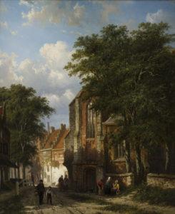 Cornelis Springer | Dorpsgezicht te Asperen met figuren bij een kerk | Kunsthandel Bies