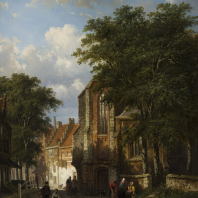 Cornelis Springer | Dorpsgezicht te Asperen met figuren bij een kerk | Kunsthandel Bies