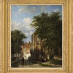 Cornelis Springer | Dorpsgezicht te Asperen met figuren bij een kerk | met lijst | Kunsthandel Bies