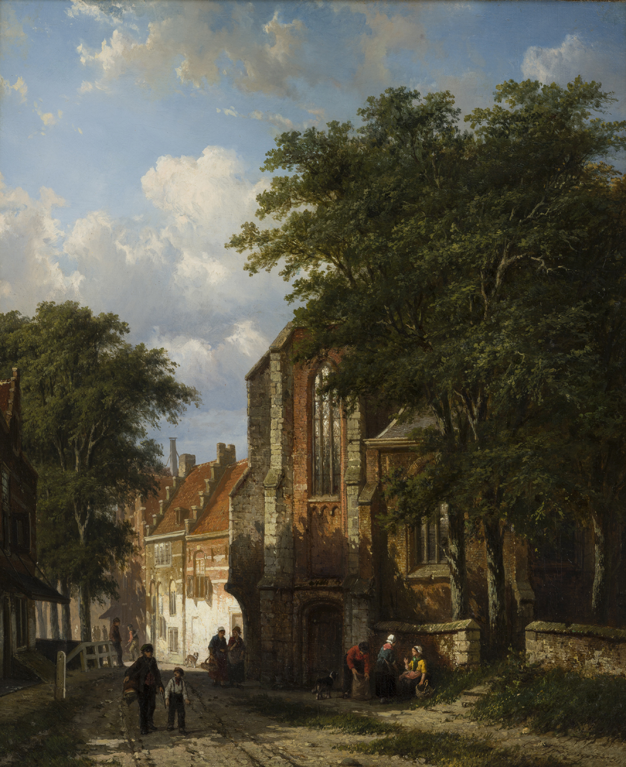 Cornelis Springer | Asperen, a Dutch town with figures by a church | Kunsthandel Bies | Bies Gallery