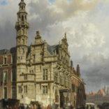 Cornelis Springer   Gezicht op Den Haag met het stadhuis   Kunsthandel Bies