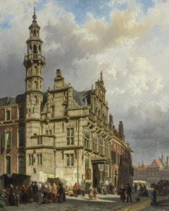 Cornelis Springer | Gezicht op Den Haag met het stadhuis | Kunsthandel Bies