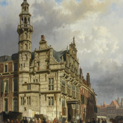 Cornelis Springer | Gezicht op Den Haag met het stadhuis | Kunsthandel Bies