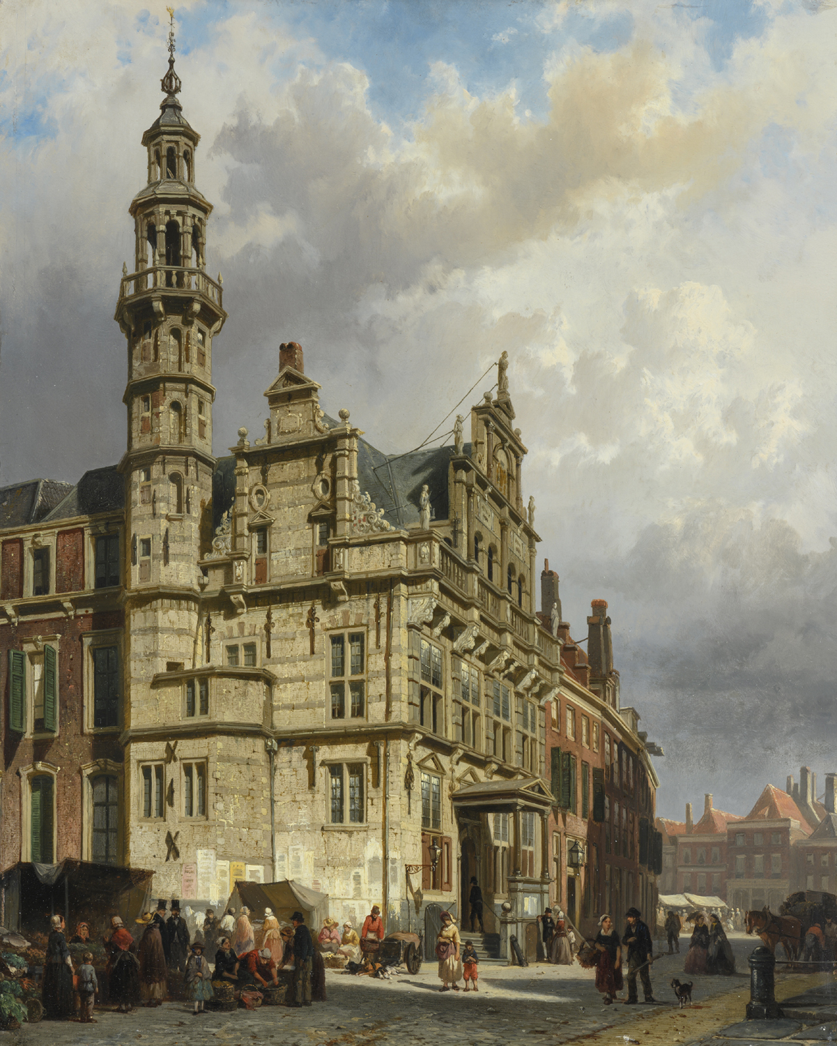 Cornelis Springer | View of The Hague with the Town Hall | Kunsthandel Bies | Bies Gallery