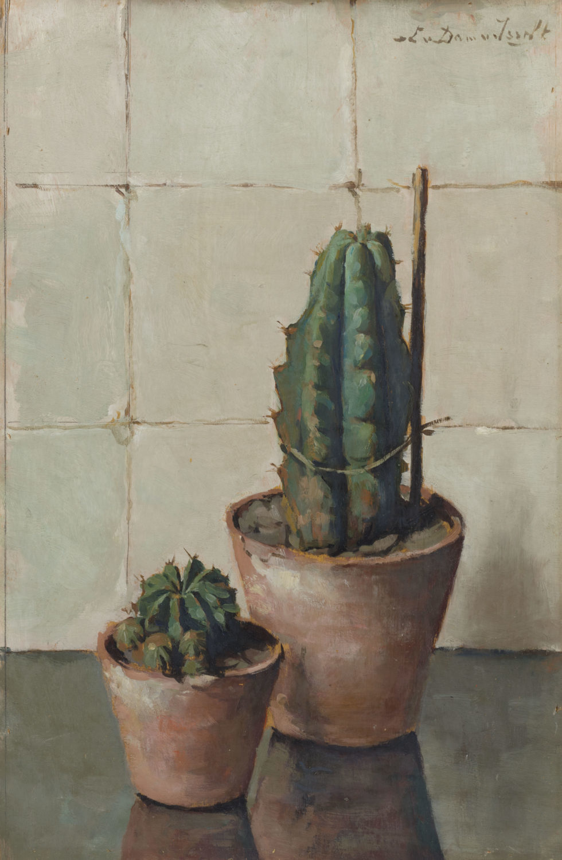 Lucie van Dam van Isselt | Stilleven met twee cactussen | Kunsthandel Bies