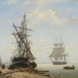 Willem Anthonie van Deventer   Werf met schepen en werklui   Kunsthandel Bies