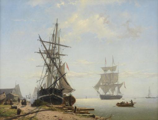 Willem Anthonie van Deventer | Werf met schepen en werklui | Kunsthandel Bies