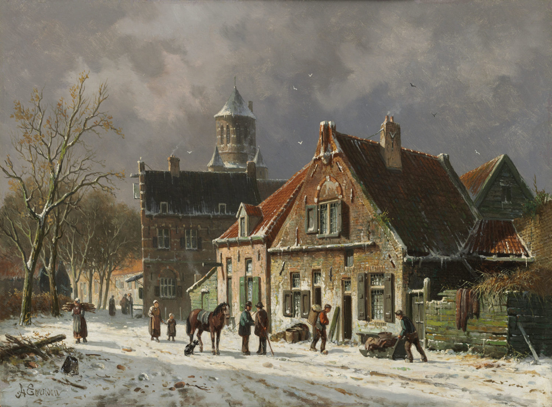 Adrianus Eversen | Winters stadsgezicht met figuren en een paard | Kunsthandel Bies