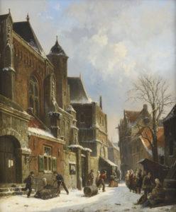 Adrianus Eversen | Een Hollands stadsgezicht in de winter | Kunsthandel Bies