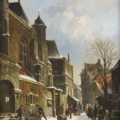 Adrianus Eversen | Een Hollands stadsgezicht in de winter | Kunsthandel Bies