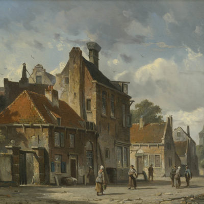 Adrianus Eversen | Stadsgezicht met figuren | Kunsthandel Bies