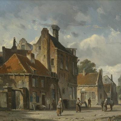 Adrianus Eversen | Stadsgezicht met figuren | Kunsthandel Bies