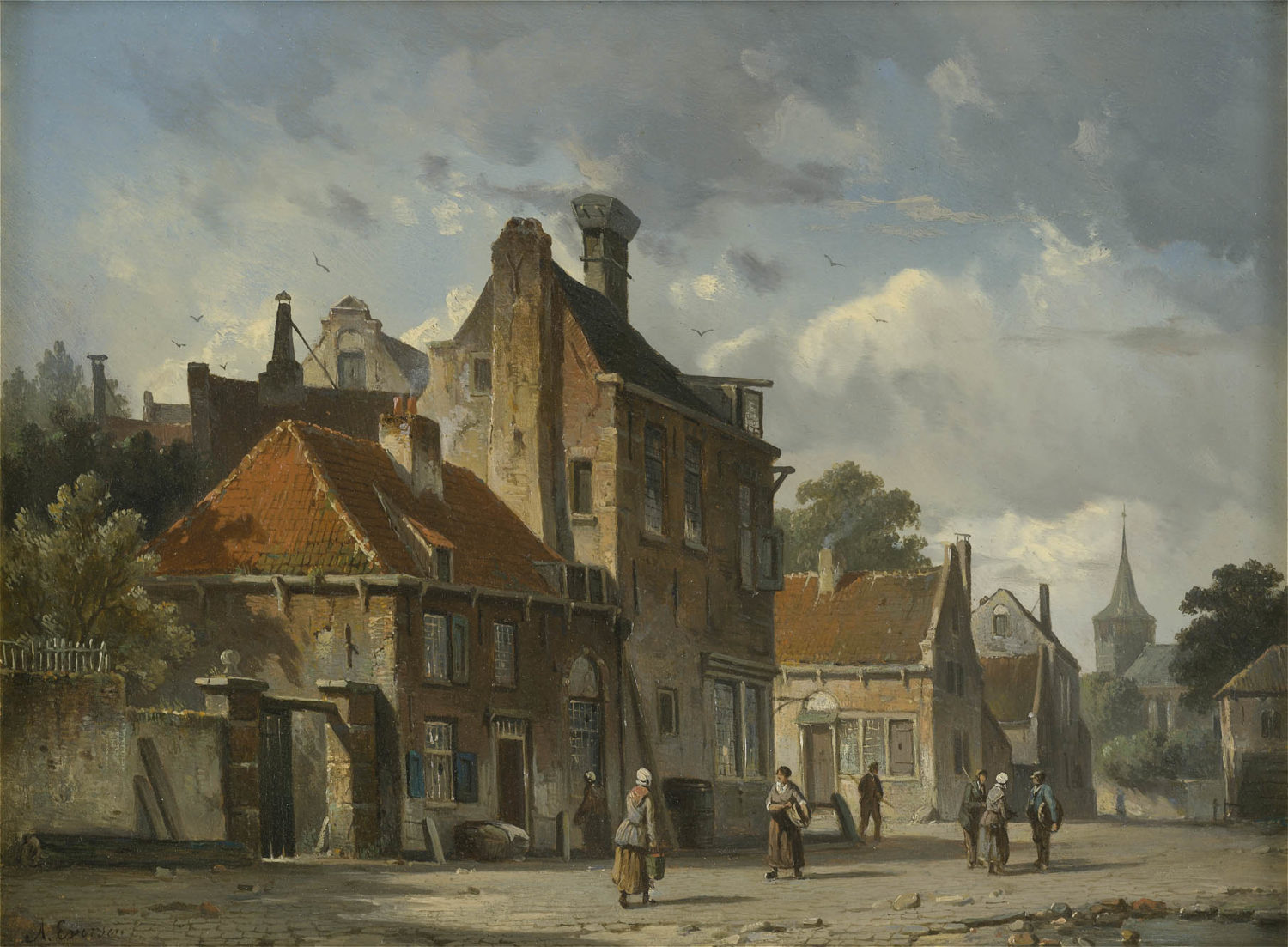 Adrianus Eversen | A town view with figures | Kunsthandel Bies | Bies Gallery