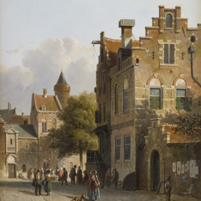 Adrianus Eversen | Zomers stadsgezicht met figuren | Kunsthandel Bies