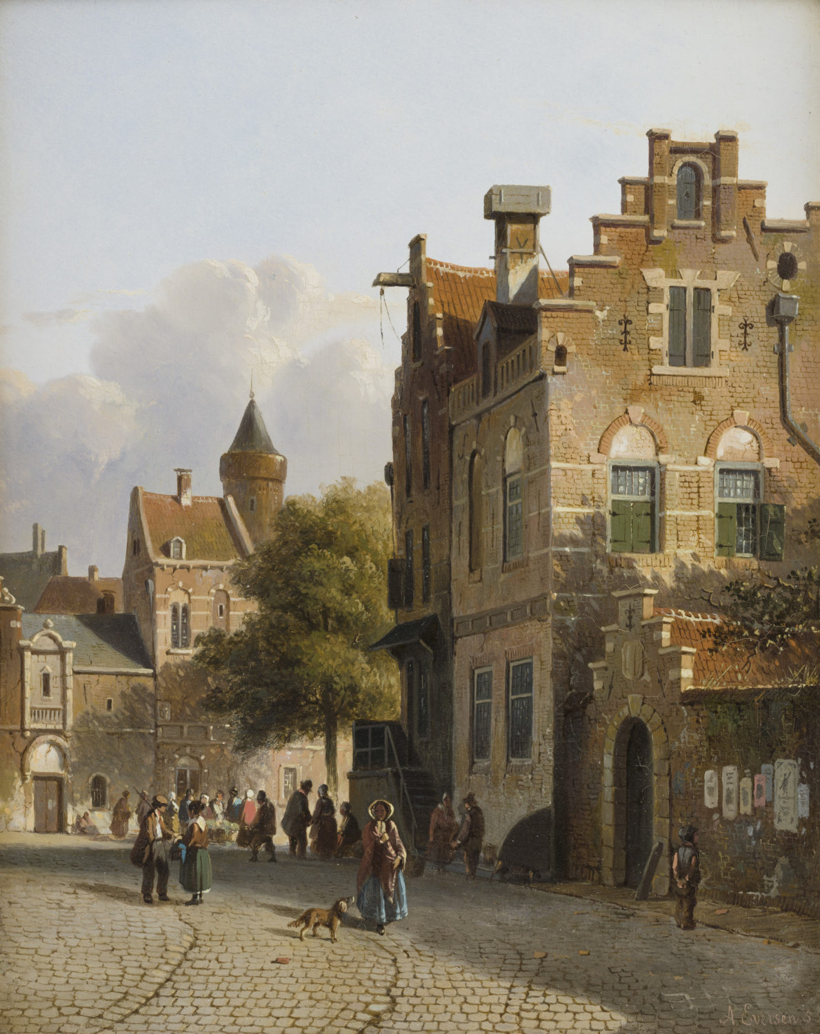 Adrianus Eversen | A Dutch town in summer with figures | Kunsthandel Bies | Bies Gallery