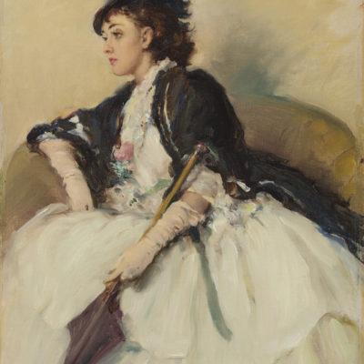 Fernand Toussaint | Elegante dame met parasol | Kunsthandel Bies