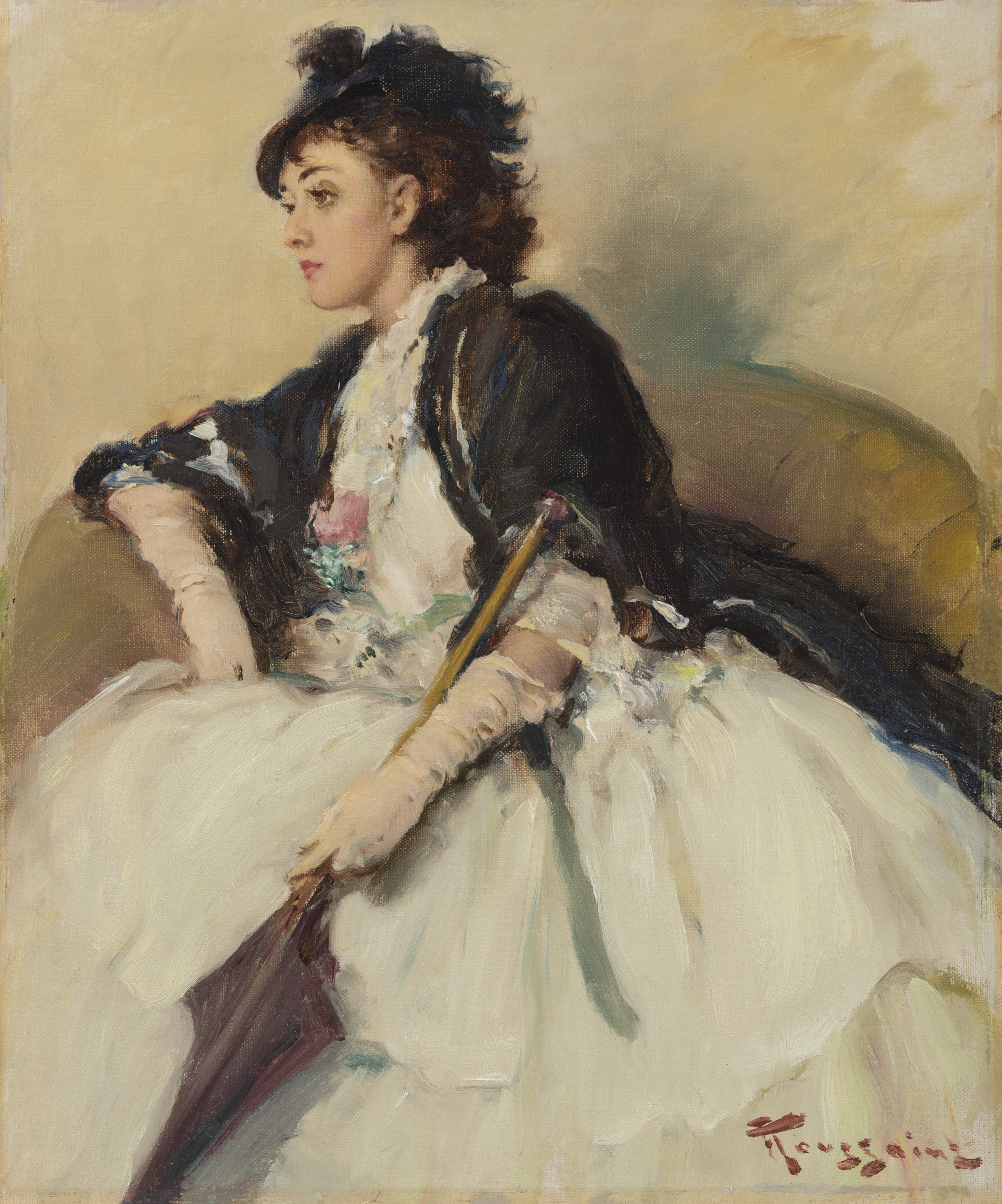Fernand Toussaint | An elegant lady with a parasol | Kunsthandel Bies | Bies Gallery