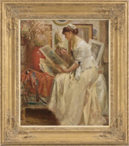 Fernand Toussaint | Elegante vrouw met Japanse prenten | Kunsthandel Bies