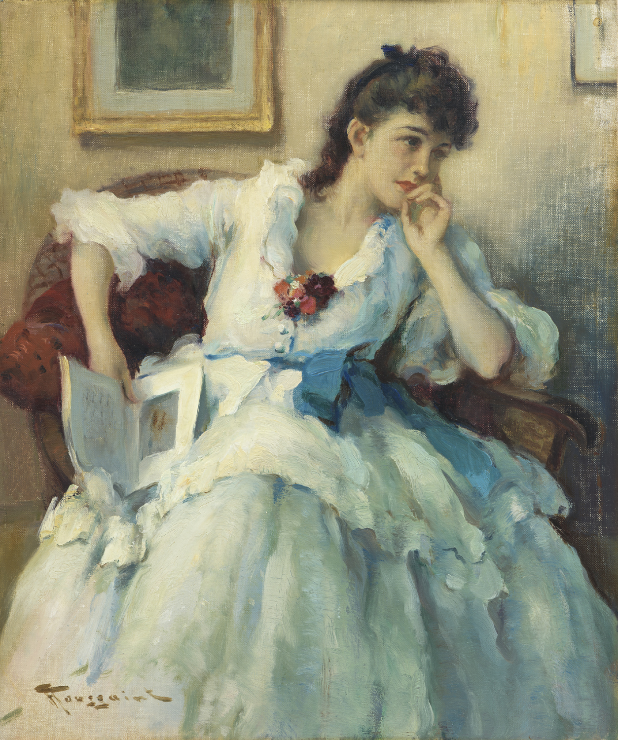Fernand Toussaint | A young lady in a white dress | Kunsthandel Bies | Bies Gallery