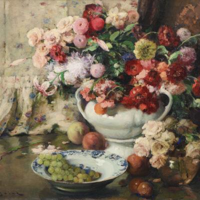 Fernand Toussaint | Stilleven met bloemen en fruit | Kunsthandel Bies