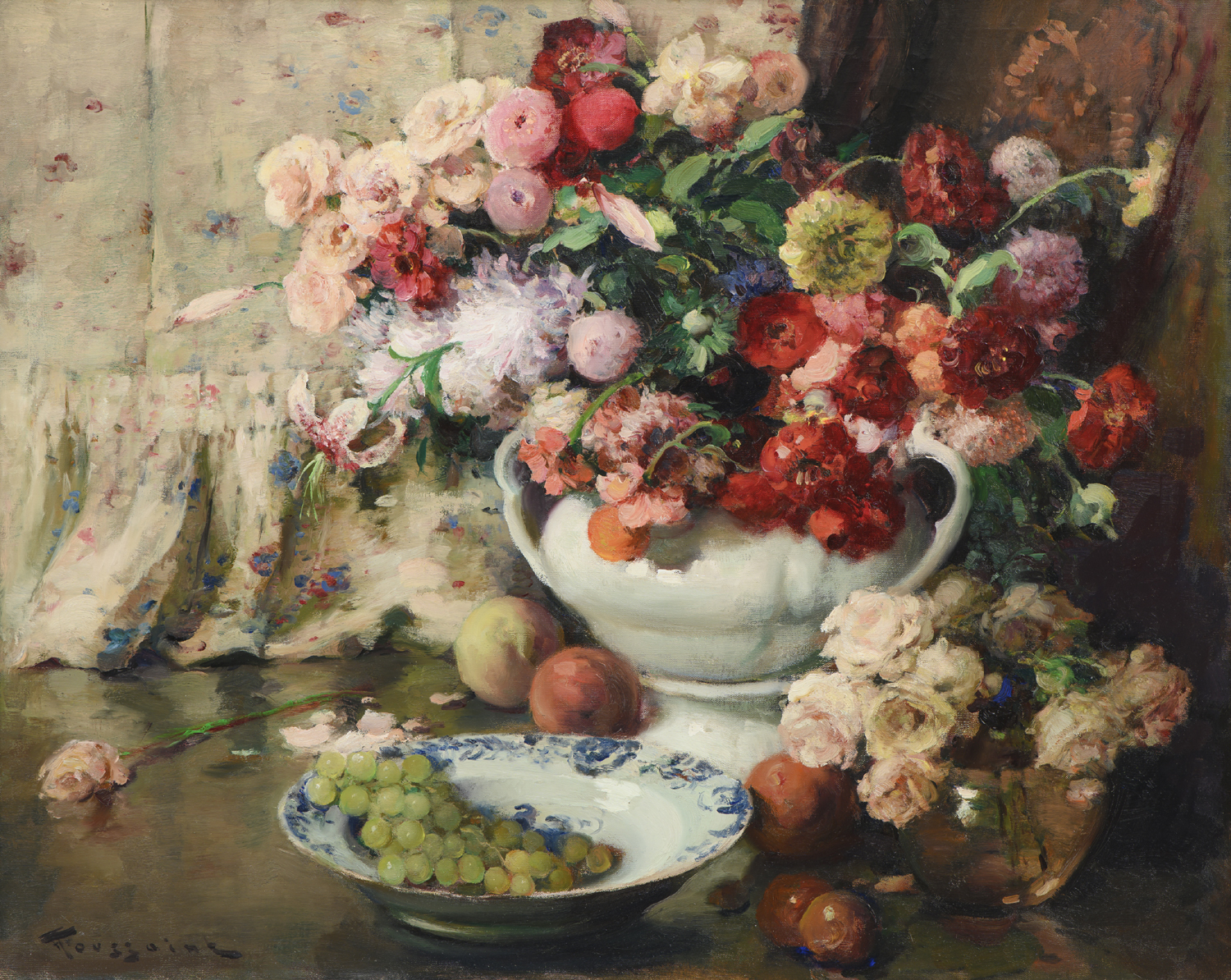 Fernand Toussaint | A still lifew with flowers and fruit | Kunsthandel Bies | Bies Gallery