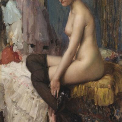 Fernand Toussaint | Zittend naakt met kousen | Kunsthandel Bies