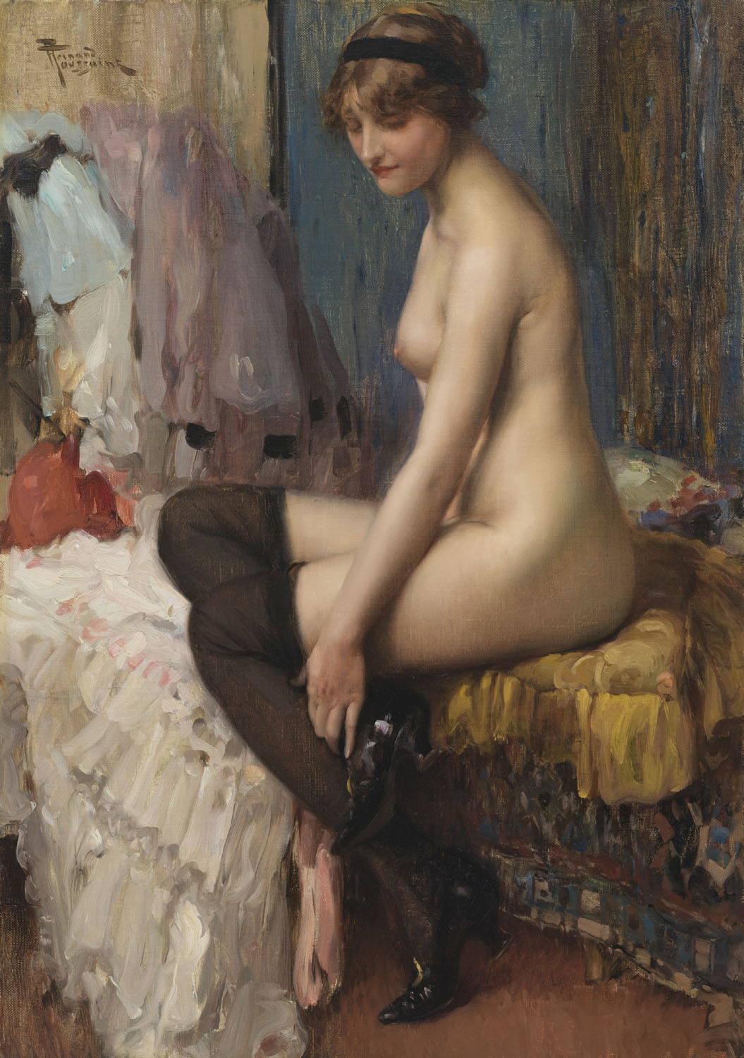 Fernand Toussaint | Seated nude with black stockings | Kunsthandel Bies | Bies Gallery