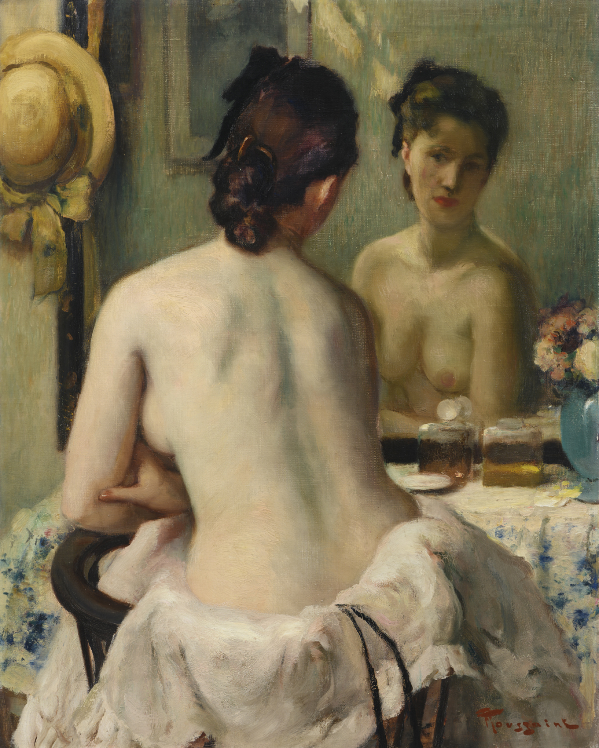 Fernand Toussaint | Nude seated before the mirror| Kunsthandel Bies | Bies Gallery