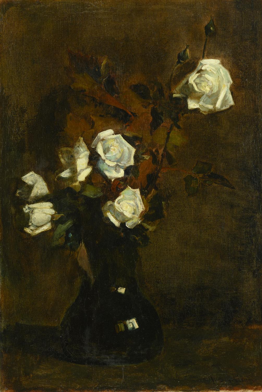 Floris Arntzenius |White roses in vase | Kunsthandel Bies | Bies Gallery