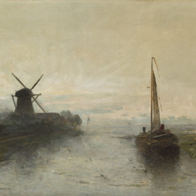 Paul Joseph Constantin ('Constant') Gabriël | Polderlandschap met boot en molen | Kunsthandel Bies